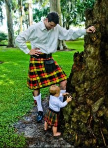 Baby kilts come in a range of sizes and tartans.