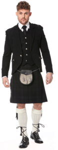 The black kilt is popular, like the Black Isle tartan.