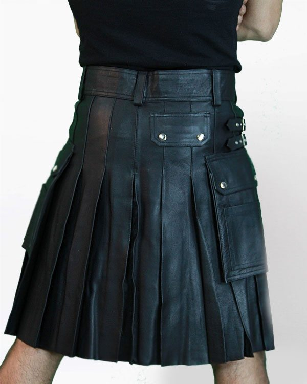 This is a great leather kilt with cargo pockets.