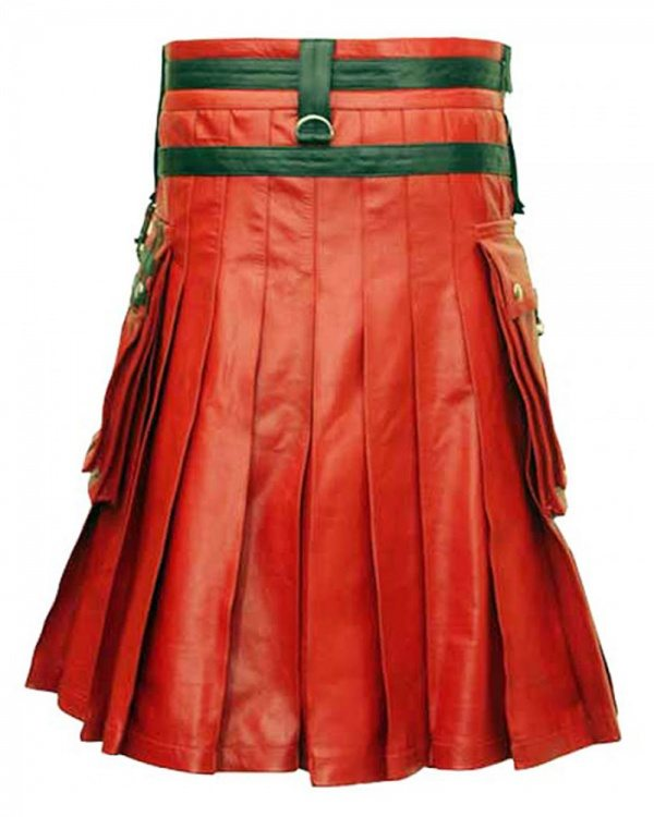 This is a unique red and black leather kilt.