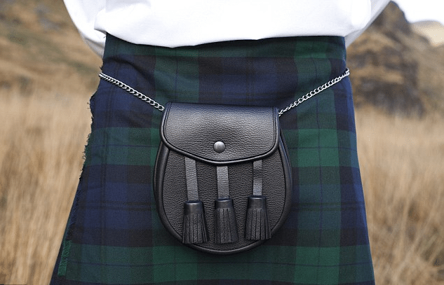 Kilts are traditionally worn with a sporran.