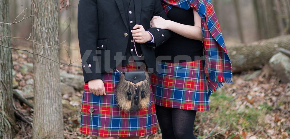 Kilts come in many different tartans.