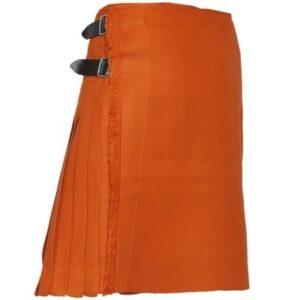 A bold Irish Safron Kilt in vibrant orange.