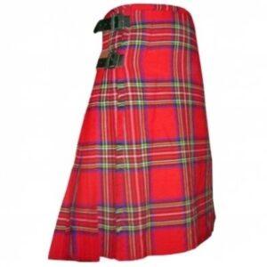 The most common kilt is the Royal Stewart tartan kilt.