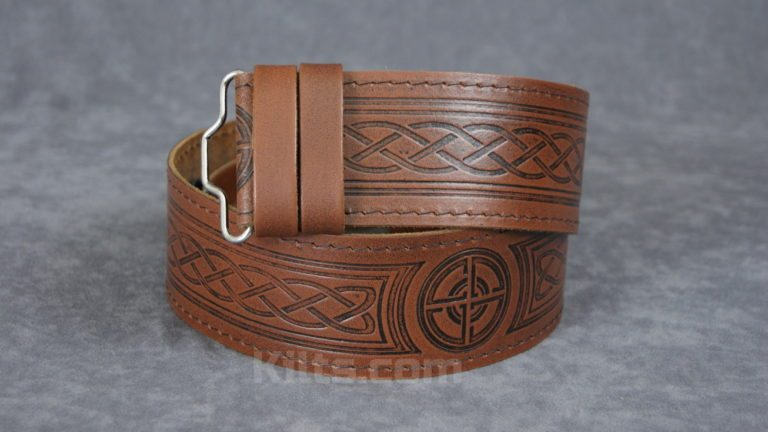 Check out our Brown and Black Embossed Kilt Belt for sale.