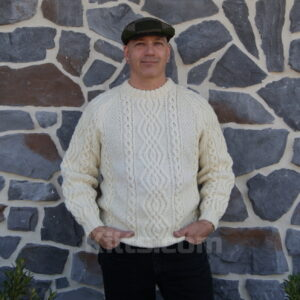 Our Scottish Cable Knit Sweater is great to wear with a kilt.