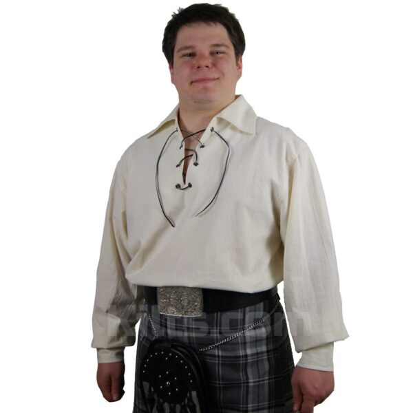 View our Cream Highland Shirt for kilts for sale.