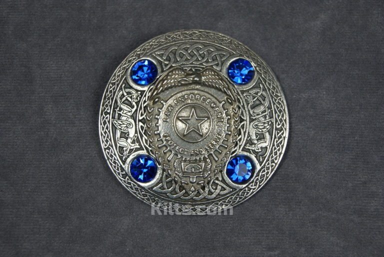 Here is our unique Law Enforcement Plaid Brooch. Ideal for Fly Plaids and Sashs.
