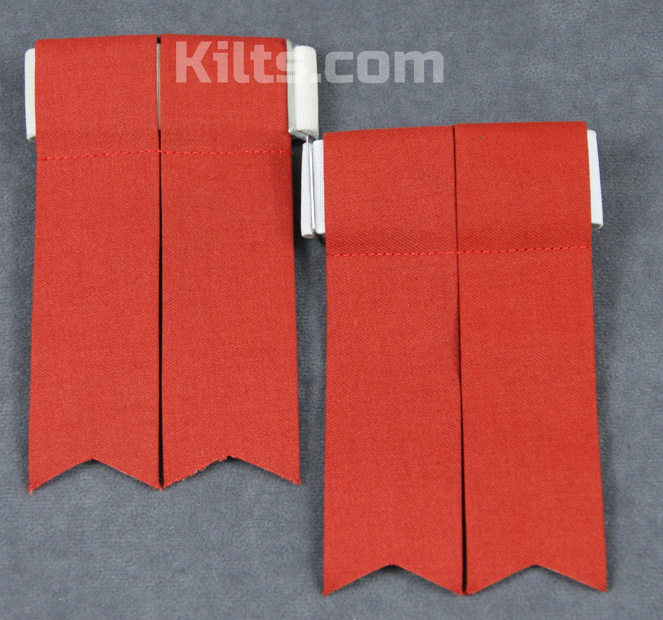 Check out our Standard Kilt Hose Flashes for Sale in Red.