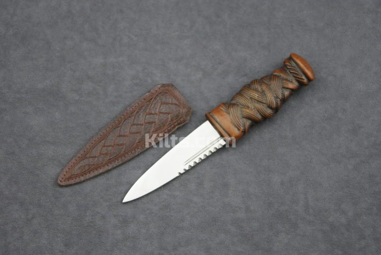 Check out our Wooden Knotwork Day Sgian Dubh. The ideal Wooden Kilt Knife.