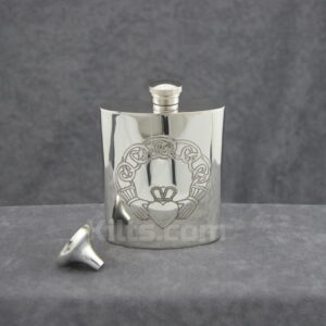 View our Claddagh Flask. The perfect Claddagh whisky hip flask for sale.