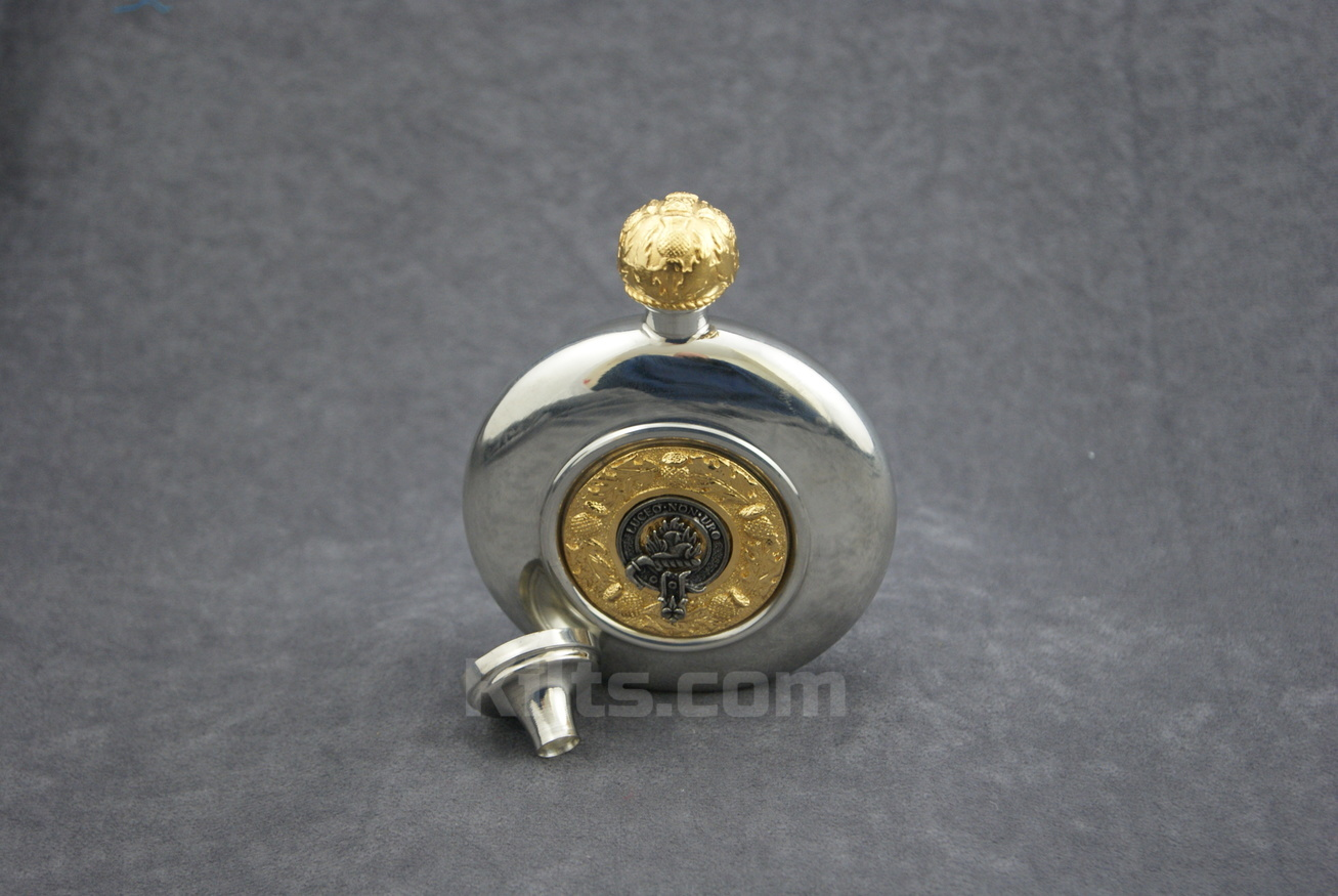 View our Scottish Clan Crest Flask. This is the best Scottish whisky clan crest hip flask for sale.